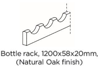 BOTTLE RACK 1200X58X20 NATURAL OAK FINISH