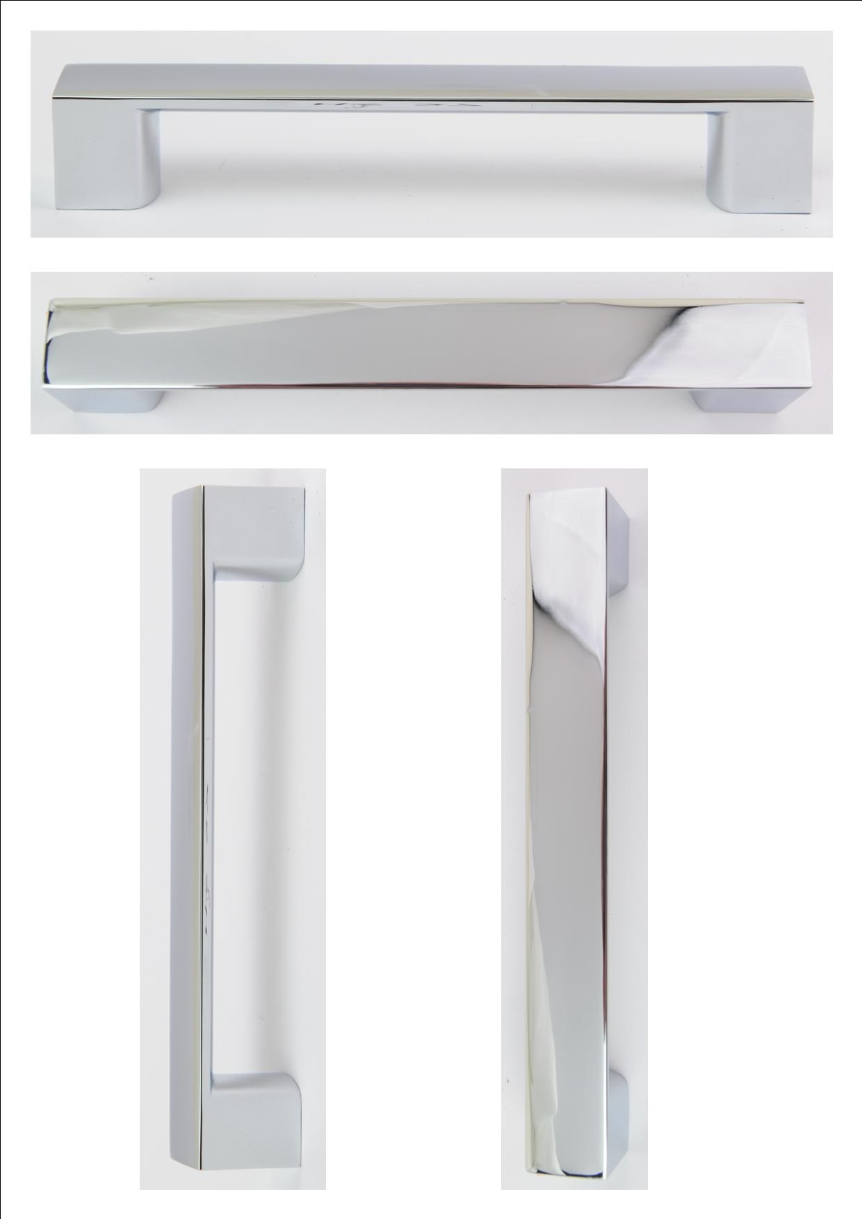 CHROME D HANDLE 160MM (128MM CENTRES) - OLD CODE HS27