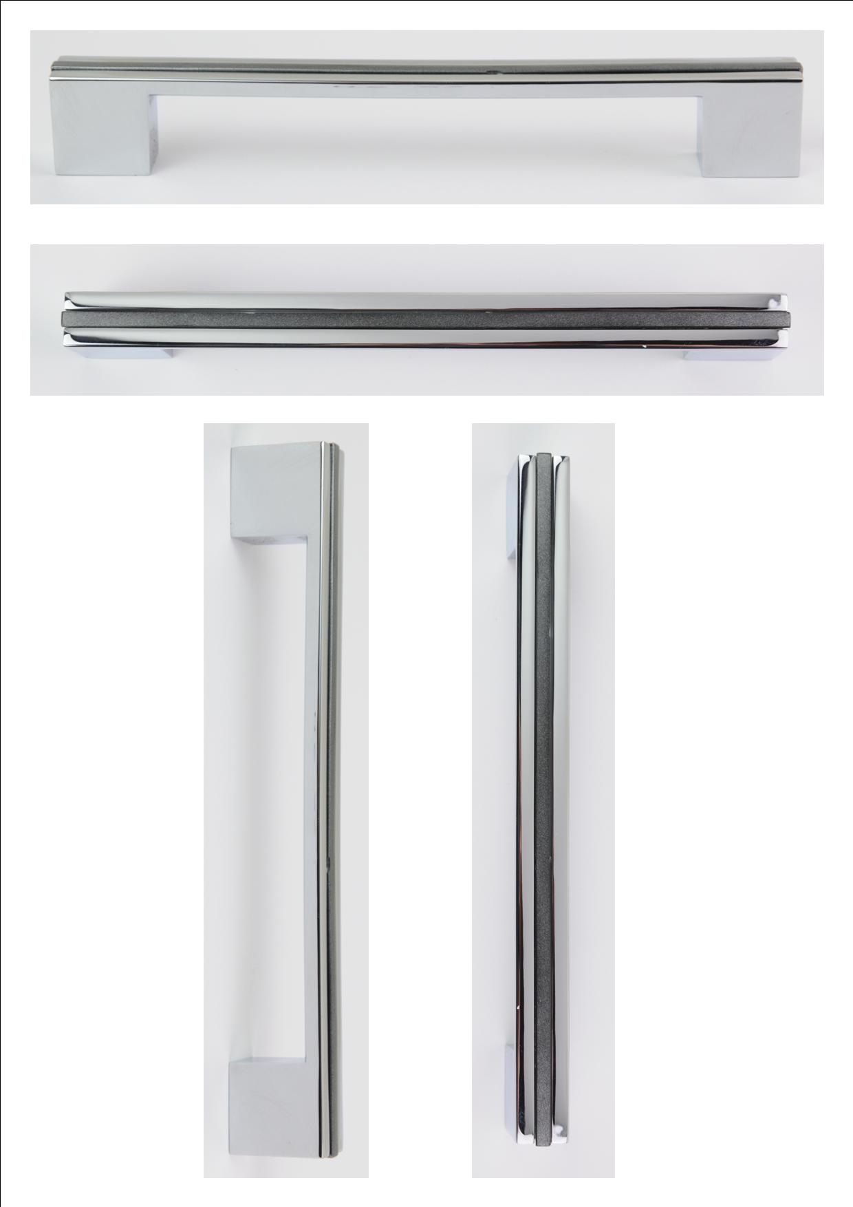 POLISHED CHROME INSERT HANDLE 200MM (160/192MM CENTRES) -  OLD CODE HS22