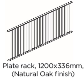 PLATE RACK 1200X336X20 OAK FINISH