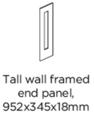 TALL WALL FRAMED END PANEL 952X345X18MM