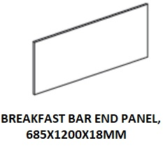 BREAKFAST BAR END PANEL 685X1200X18MM