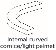 INTERNAL CURVED UNIVERSAL CORNICE/PELMET
