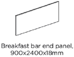 2400X900X18MM BREAKFAST BAR END PANEL
