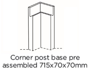 BASE CORNER POST 715X70X70MM WITH HANDLE ASSEMBLED