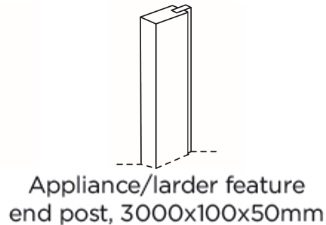 APPLIANCE/LARDER FEATURE END POST 3000X100X50MM