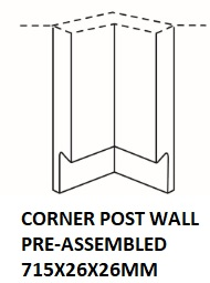 WALL CORNER POST 715X26X26MM WITH HANDLE ASSEMBLED